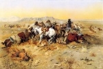 Charles Marion Russell - paintings - A Desperate Stand