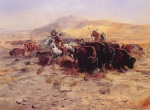 Charles Marion Russell - paintings - Buffalo Hunt