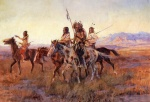Charles Marion Russell - Bilder Gemälde - Four Mounted Indians
