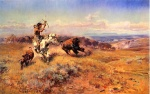Charles Marion Russell - Bilder Gemälde - Horse of the Hunter (Fresh Meat)