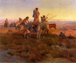 Charles Marion Russell - Bilder Gemälde - In the Wake of the Bufallo Hunters