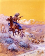Charles Marion Russell - paintings - Indian Attack