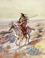 Charles Marion Russell - Bilder Gemälde - Indian with Spear