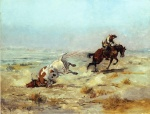 Charles Marion Russell - paintings - Lassoing a Steer