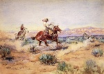 Charles Marion Russell - Bilder Gemälde - Roping a Wolf