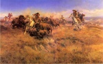 Charles Marion Russell - paintings - Running Buffalo