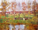 Theodore Clement Steele - Bilder Gemälde - Cows by the Stream
