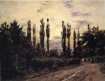 Theodore Clement Steele - Bilder Gemälde - Evening Poplars and Roadway near Schleissheim