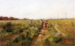 Theodore Clement Steele - Bilder Gemälde - In the Berry Field