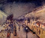 Camille  Pissarro - paintings - The Boulevard Montmartre at Night