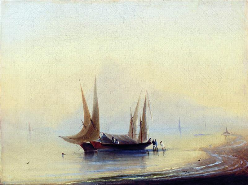 A Barge by the Seashore