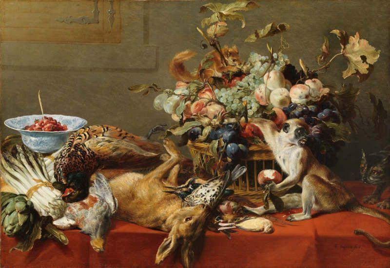 A Basket of Fruit on a Draped Table with Dead Game and a Monkey