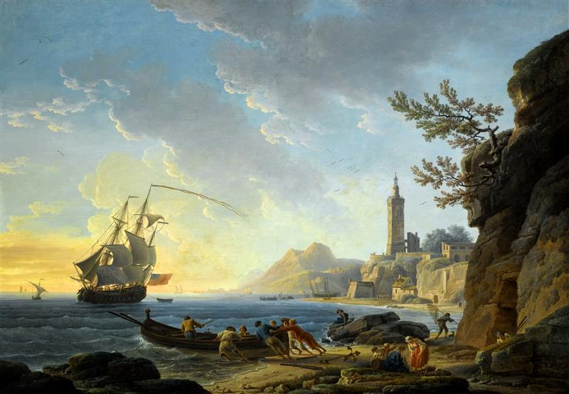 A Coastal Mediterranean Landscape with a Dutch Merchantman in a Bay