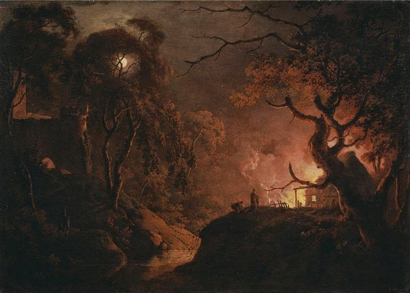 A Cottage on Fire at Night