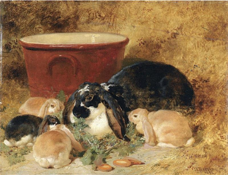 A Doe Rabbit and Her Kits in an Interior