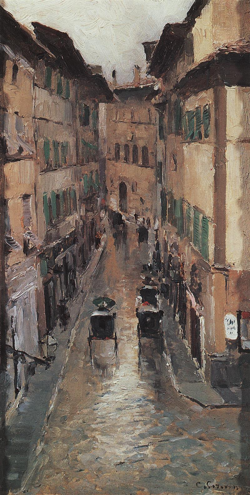 A Florence Street in the Rain