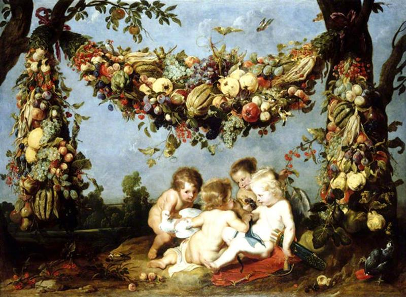 A Garland of Fruit and Vegetables over Four Putti in a Landscape