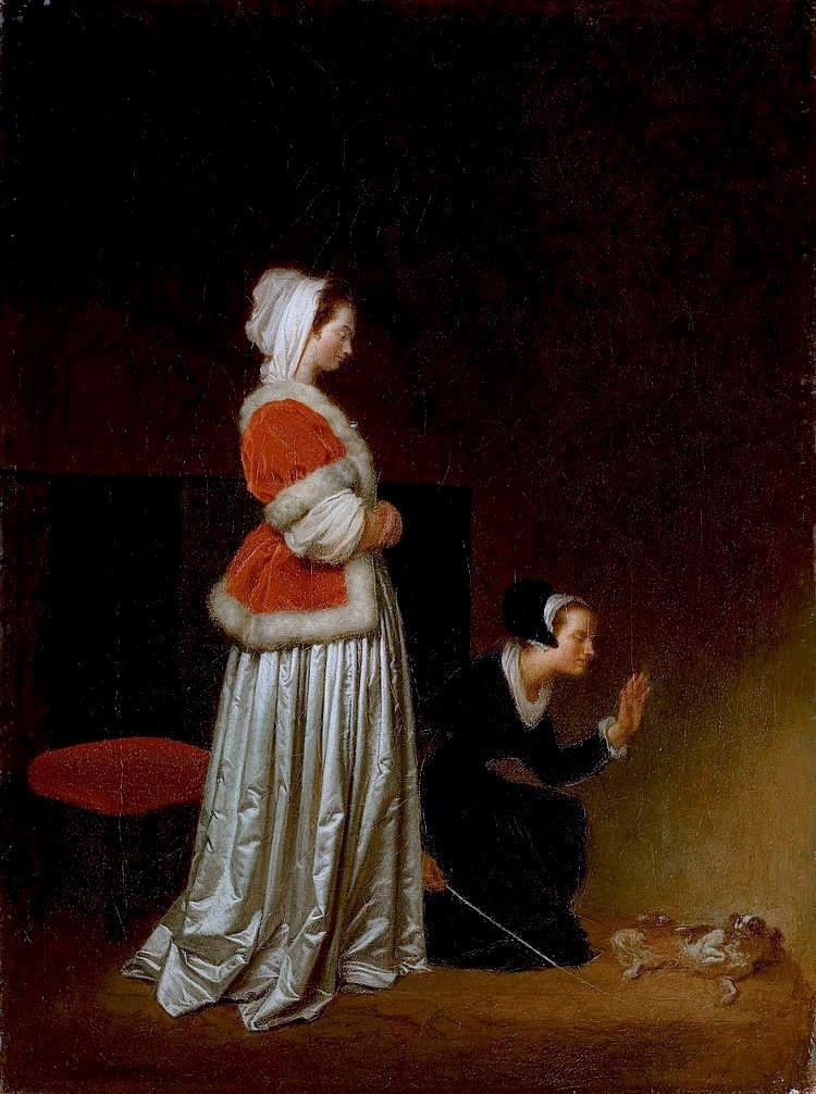 A Lady and her Maid Chastising a Spaniel