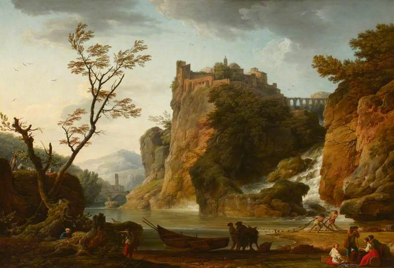 A River Landscape with a Waterfall and a Castle and Aqueduct Above