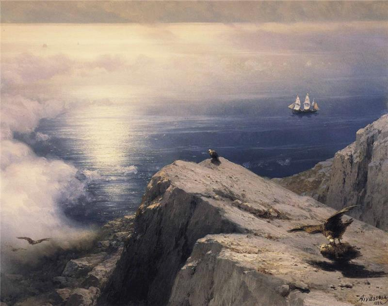 A Rocky Coastal Landscape in the Aegean with Ships in the Distance
