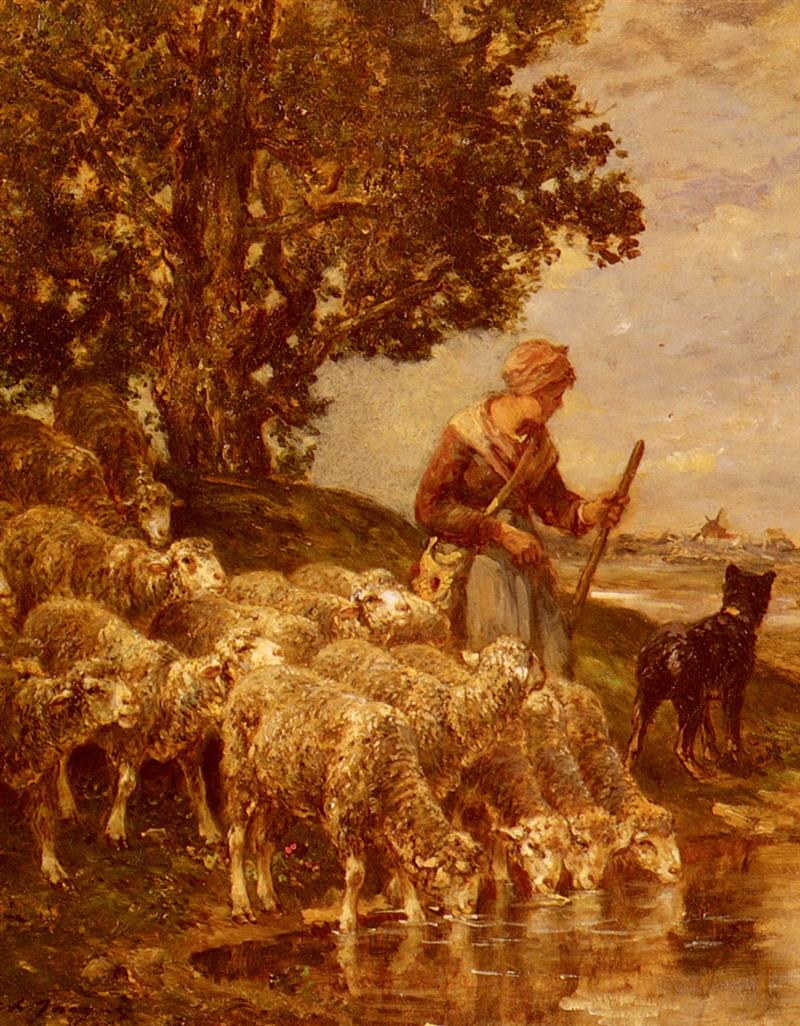 A Shepardess Watering Her Flock