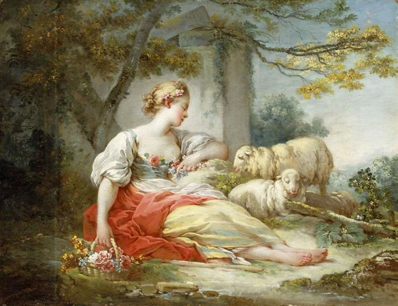 A Shepherdess Seated with Sheep and a Basket of Flowers Near a Ruin in a Wooded Landscape