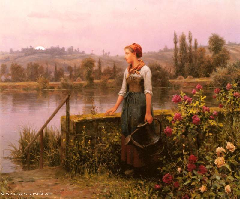 A Women with a Watering Can by the River
