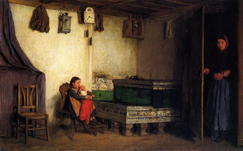 An Interior with Mother and Children