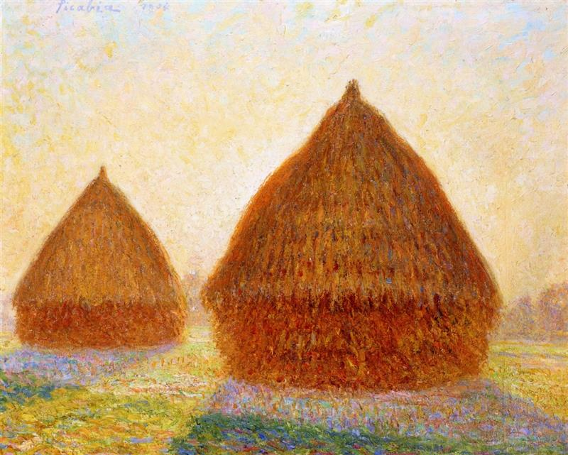 Backlit Haystacks, Moret, Evening