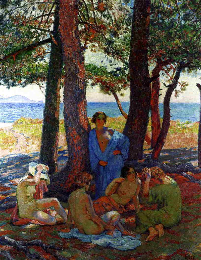 Bathers under the Pines by the Sea