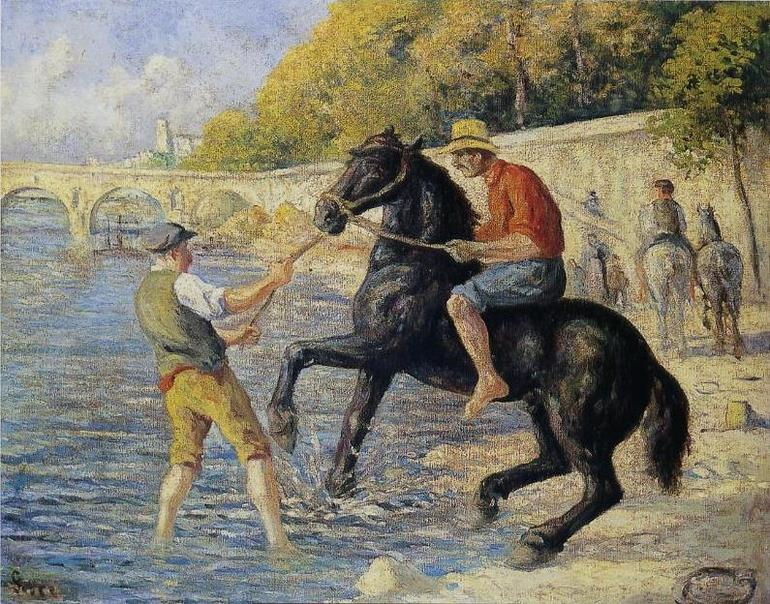 Bathing Horses in the Seine
