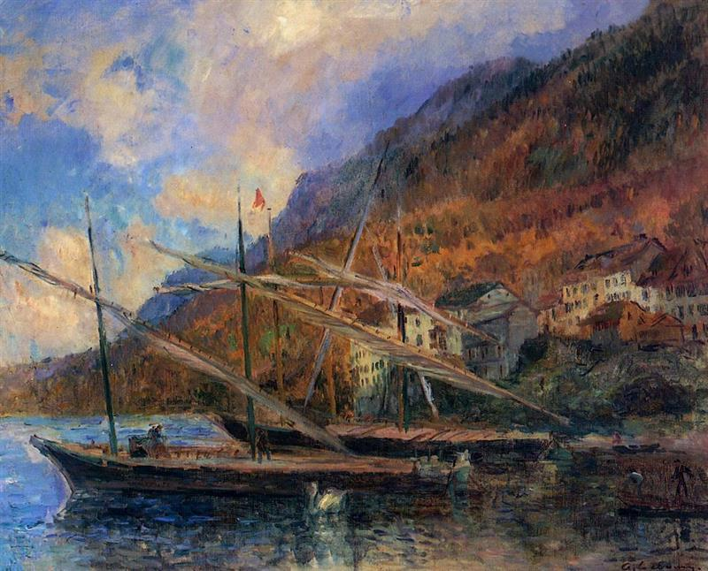 Boats by the Banks of Lake Geneva at Saint-Gingolph