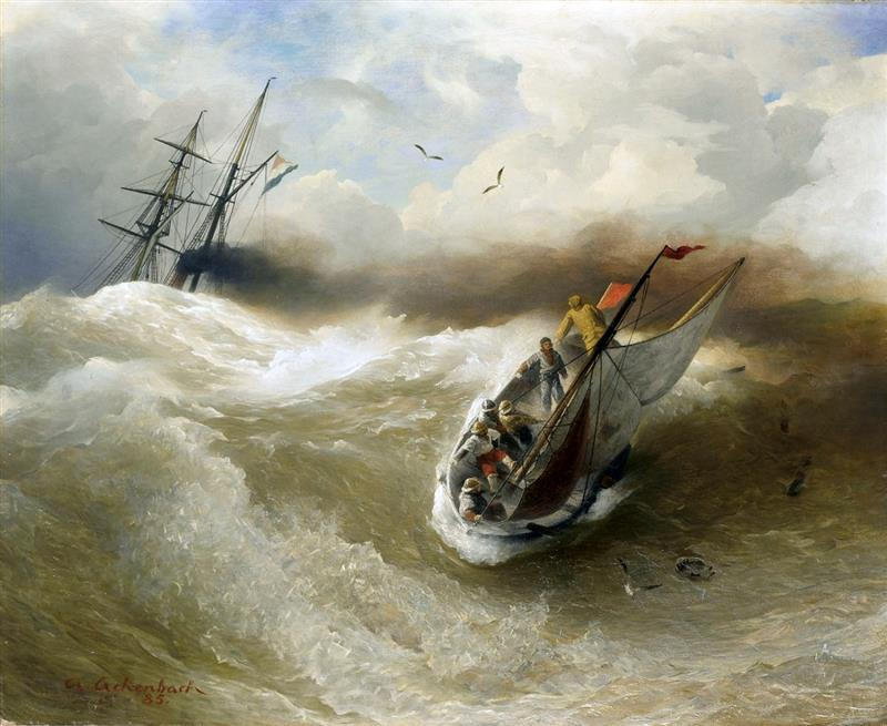 Boats in Stormy Sea