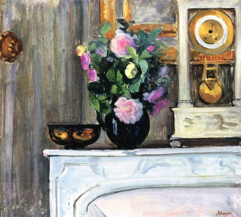 Bouquet of Flowers on a Mantlepiece