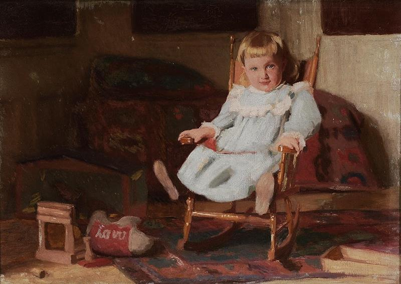 Child in a Blue Dress in a Chair