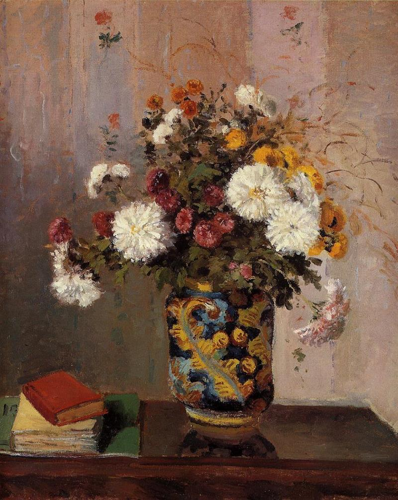 Chrysanthemums in a China Vase
