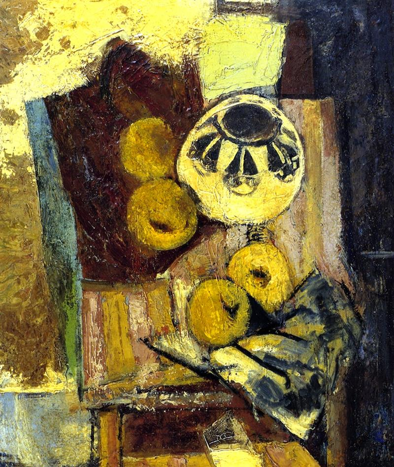 Cubist Still Life with Ceramic Bowl and Apples