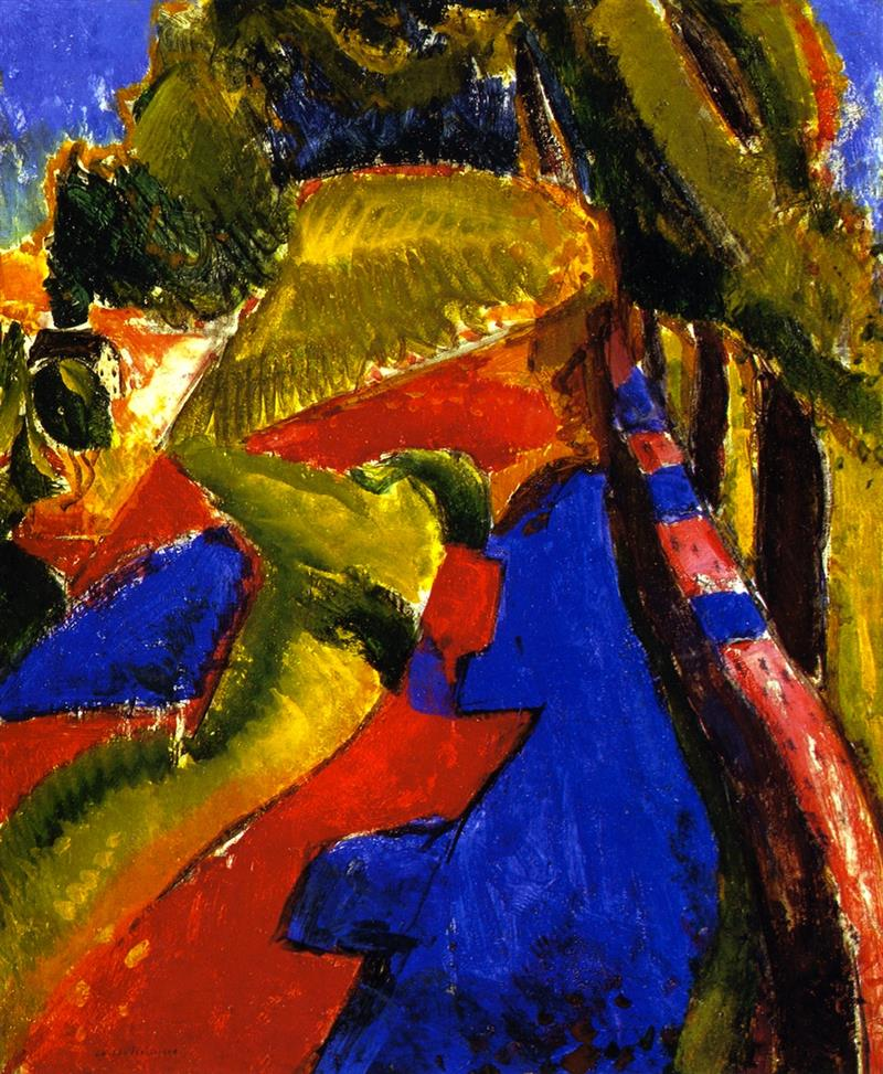 Fauve Landscape with Red and Blue