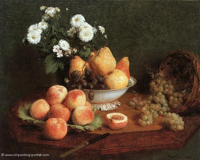 Flowers and Fruits on a Table