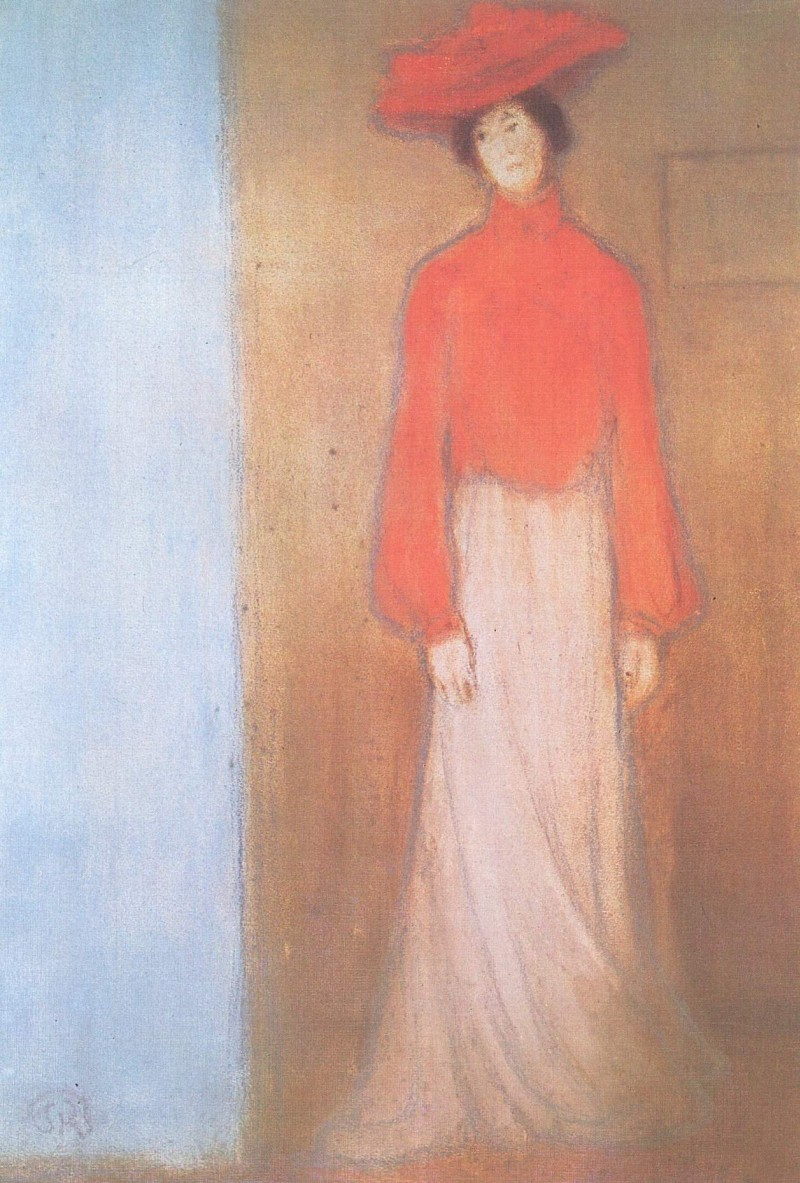 Frau in roter Bluse