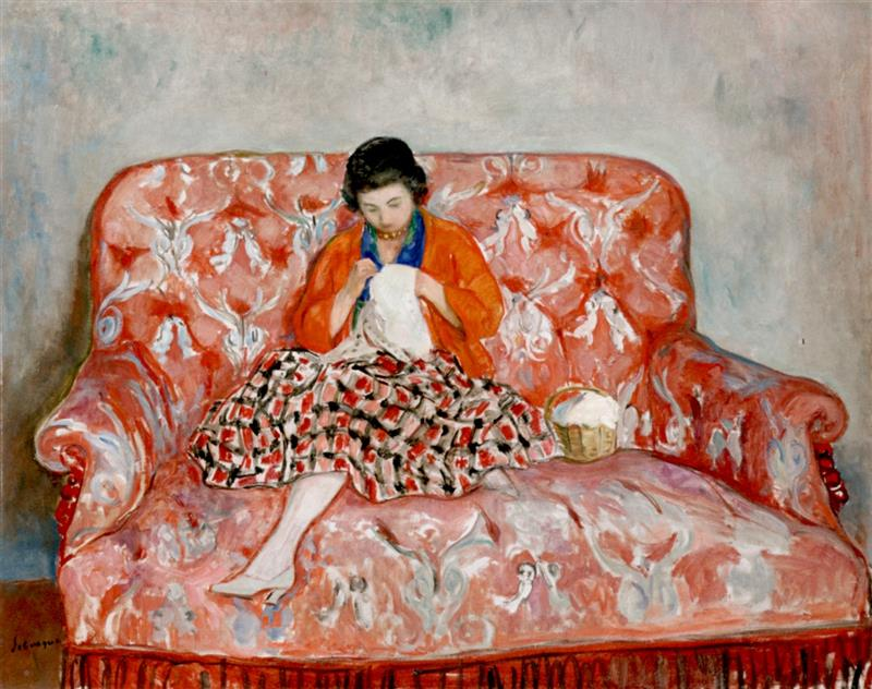 Girl Sewing on a Sofa