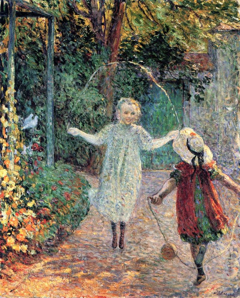 Girls Playing in the Garden
