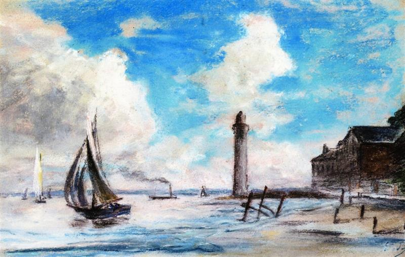 Honfleur, Shore, Sailboats and Lighthouse