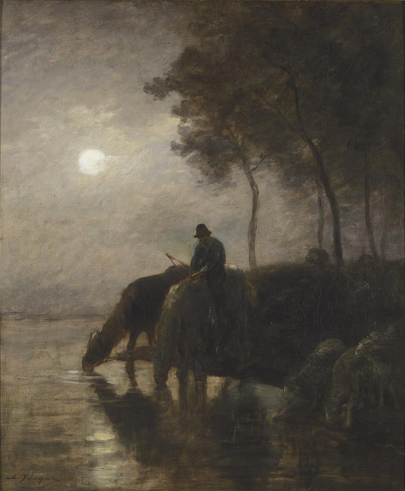 Horses and Sheep Watering in the Moonlight