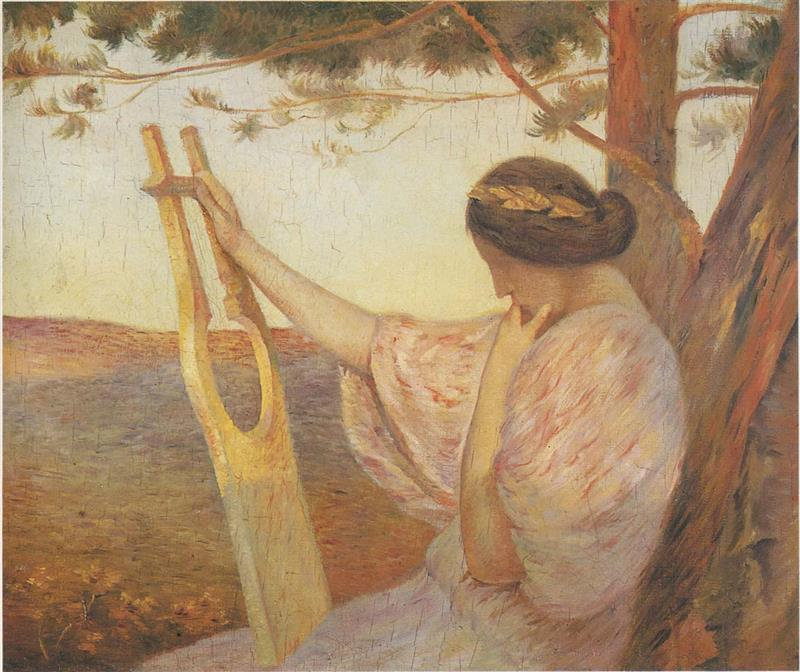 Lady with Lyre by Pine trees