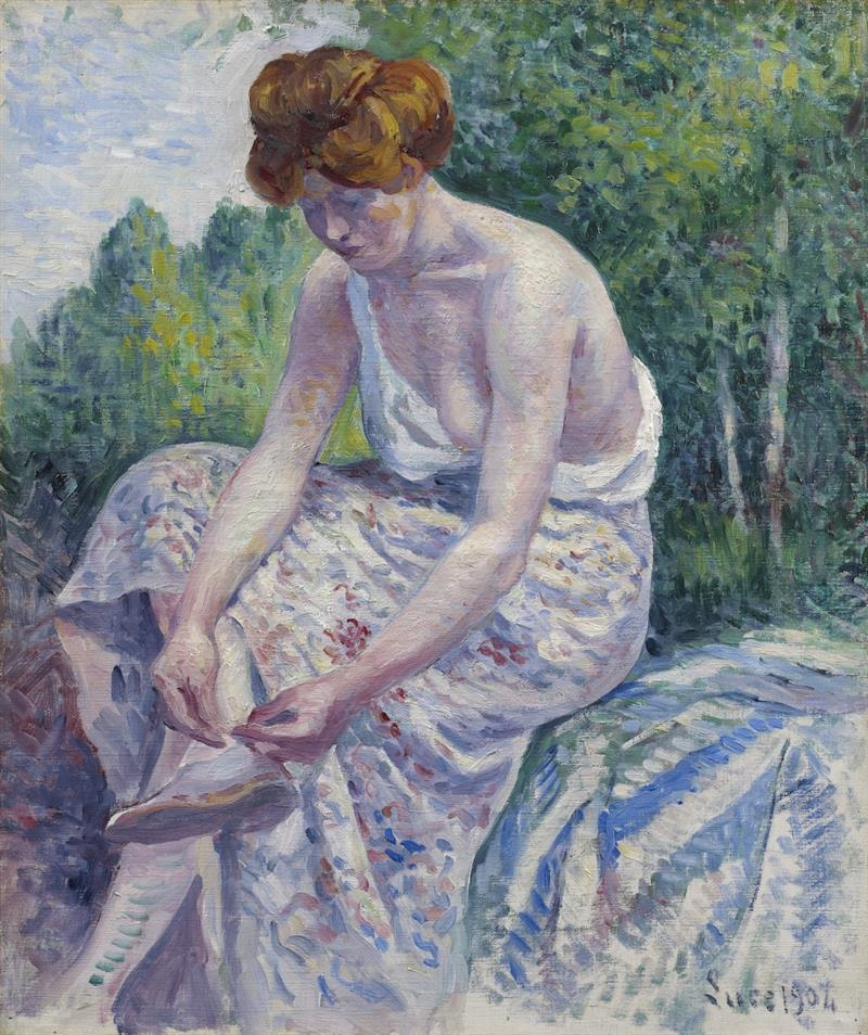 Monlineaux, Young Woman putting on Sandal