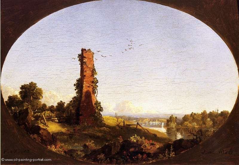 New England Landscape with Ruined Chimney