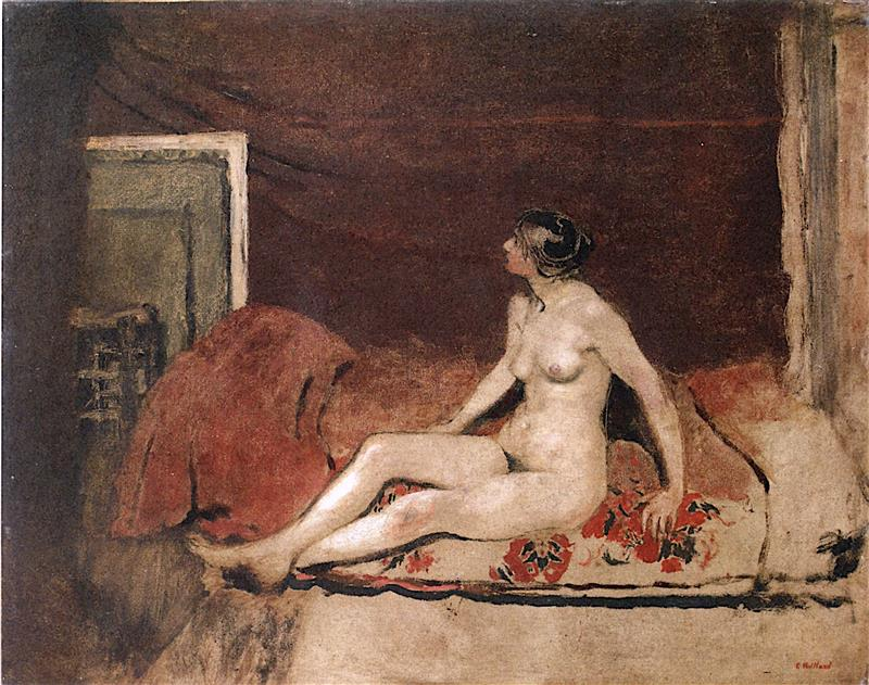 Nude on a Blanket with Red Flowers