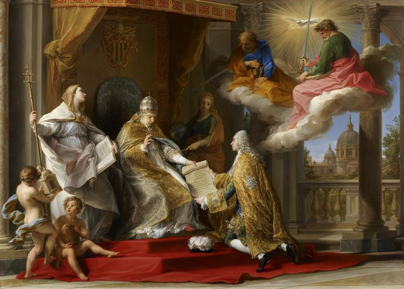 Pope Benedict XIV presenting the Encyclical 'Ex Omnibus' to the Comte de Stainville