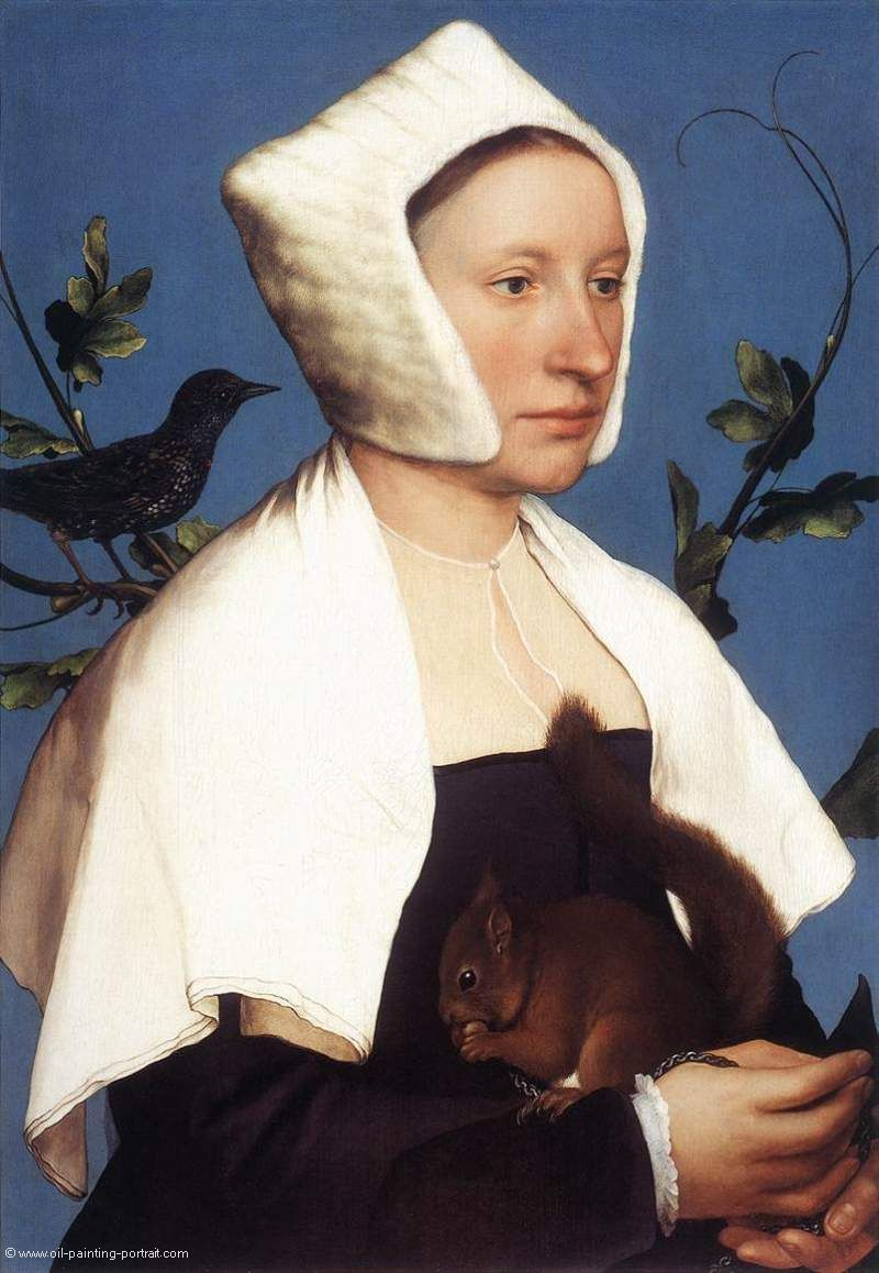 Portrait of Lady with a Squirell and a Starling